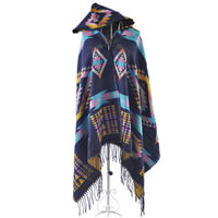 Geometric Poncho Cape Wrap in Blue