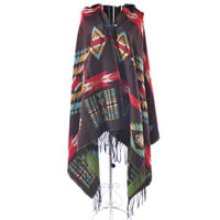Geometric Poncho Cape Wrap in Brown