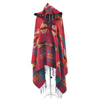 Geometric Poncho Cape Wrap in Red