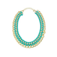 Green Ribbon Link Statement Necklace