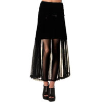 Half Sheer Black Chiffon Maxi Skirt with Side Split