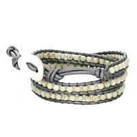 Handmade Trendy Howlite Stone Bead Wrap Bracelet in Grey