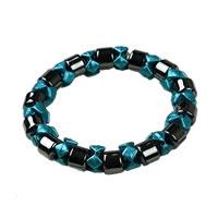 Ladies Hematite Blue Black Pearl Magnetic Stretch Health Bracelet
