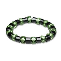 Ladies Hematite Green Black Pearl Magnetic Stretch Health Bracelet