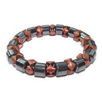 Ladies Hematite Orange Black Pearl Magnetic Stretch Health Bracelet