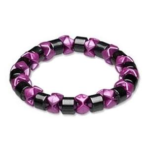 Ladies Hematite Pink Black Pearl Magnetic Stretch Health Bracelet