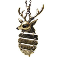 Hinged Deer Pendant Necklace In Copper