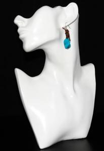 Hippie Chic Trendy Blue Nugget Wrap Drop Earrings