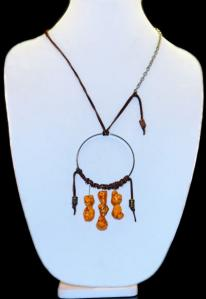 Hippie Chic Trendy Dream Hoop Necklace with orange nuggets