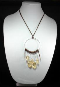 Hippie Chic Trendy Dream Hoop Necklace with clear yellow nuggets
