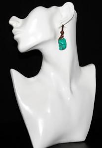 Hippie Chic Trendy Green Nugget Wrap Drop Earrings