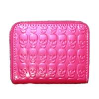 Hot Pink Skull Small Zip Wallet