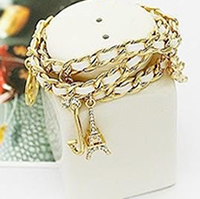 Couture Style Multi-Layer Leather Paris Gold Bracelet