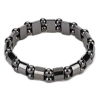 Ladies Hematite Black Pearl Magnetic Stretch Health Bracelet