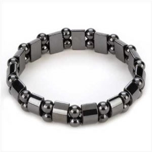 Ladies Hematite Black Pearl Magnetic Stretch Health Bracelet