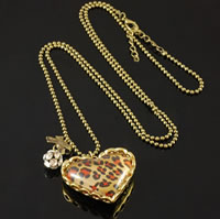 Leopard Heart Crystal Ball Necklace