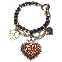 Vintage Leopard Heart Peace Bracelet
