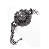 Lion Head Gun Metal Bracelet