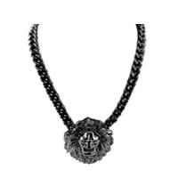 Lion Head Gun Metal Pendant Necklace