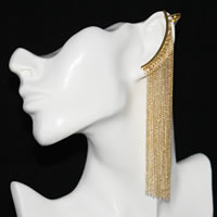 Long Fringe Earring with Ear Cuff in gold