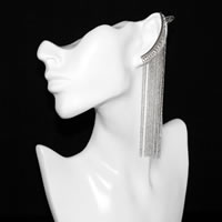 Long Fringe Earring with Ear Cuff in silver