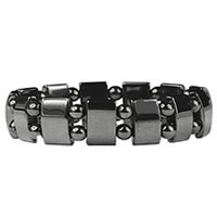 Men's Hematite Black Pearl Magnetic Stretch Health Bracelet
