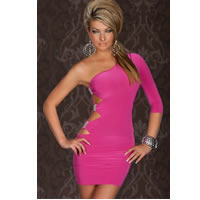 One Arm Mini Club Dress in Pink