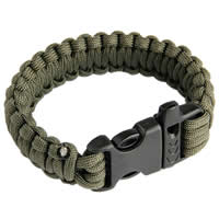 Paracord Survival Rescue Bracelet with Whistle Buckle (Olive Green)