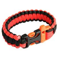 Paracord Survival Rescue Bracelet with Whistle Buckle (Orange Black)