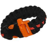 Paracord Survival Rescue Bracelet with Whistle Buckle (Black with Orange Line)