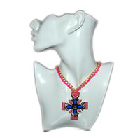 Blue Pink Braided Cross Necklace