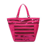 Pink Striped Sequin Tote Bag