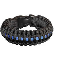 Police Blue Line Paracord Survival Rescue Bracelet with Whistle Buckle
