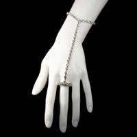 Rhinestone Slave Bracelet with Ring