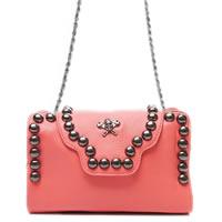 Pink Rivets and Skull Shoulder Chain Bag