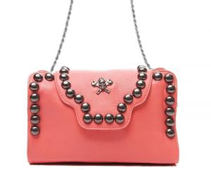 Pink Rivets and Skull Shoulder Chain Bag