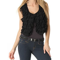 Romeo and Juliet Couture Ruffle Studded Vest In Black