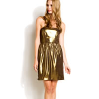 Shoshanna Gold Strapless Dress