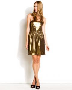 Shoshanna Gold Strapless Dress