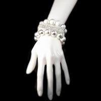 Square Paved Silver Bangle Bracelet Set