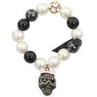 Stretch Bead Skull Charm Bracelet