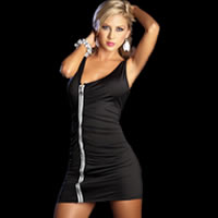 Black Zipper Mini Club Dress