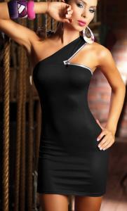 Black Zipper Shoulder Mini Club Dress
