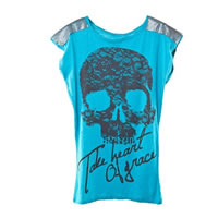 Teal Long Skull Top