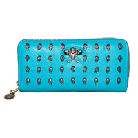 Teal Skull Studded Wallet