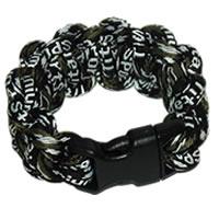 Paracord Style Titanium Bracelet - Camo Black