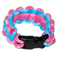 Paracord Style Titanium Bracelet - Light Blue/Pink