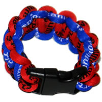 Paracord Style Titanium Bracelet - Royal Blue/Red