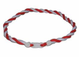 """Phiten Japanese Tornado Titanium Necklace 22""""<br />    (Red/White)"""