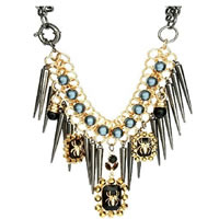 Trendy Premium 3 Spider Jewel & Spike Necklace